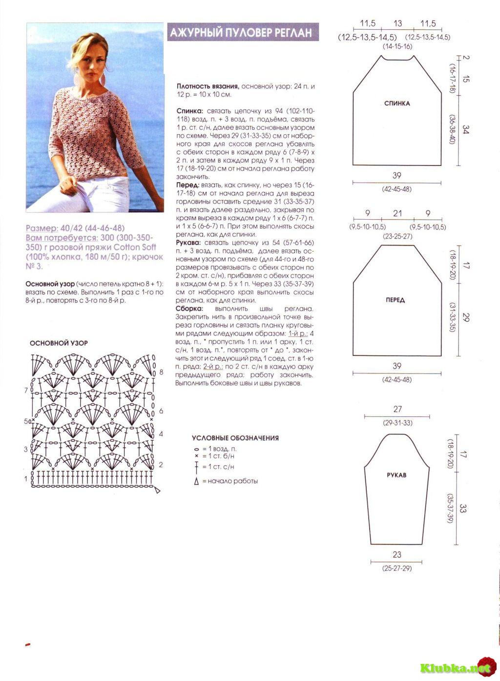Схема вязания женской кофты с регланом 426