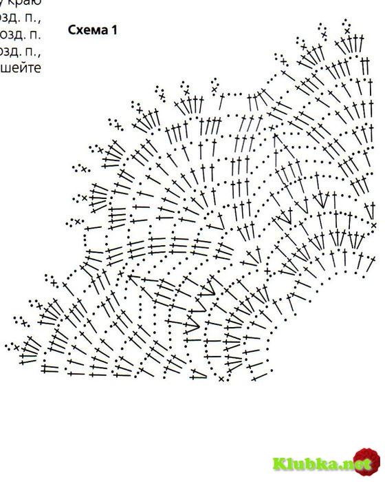 Схема вязания крючком воротника ажурного с описанием
