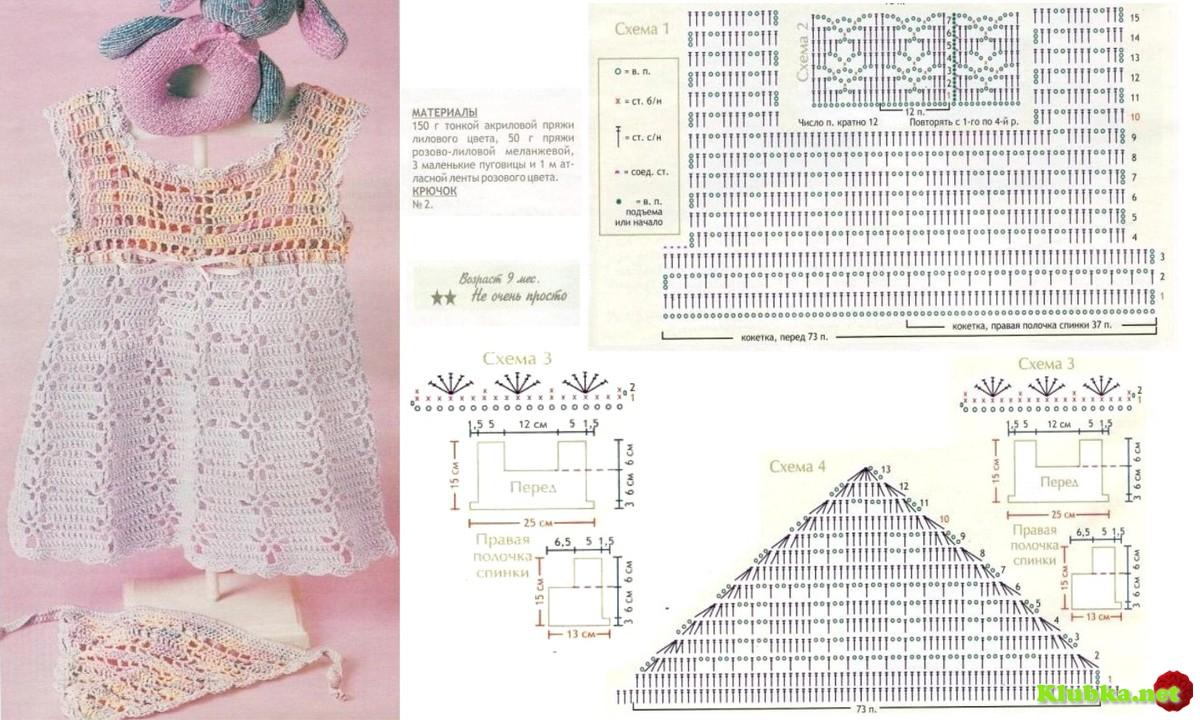 Детские платья крючком схемы с описанием фото для начинающих