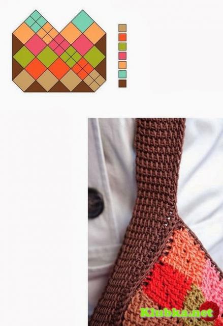 Сумка тунисским вязанием - Rankine nerta.