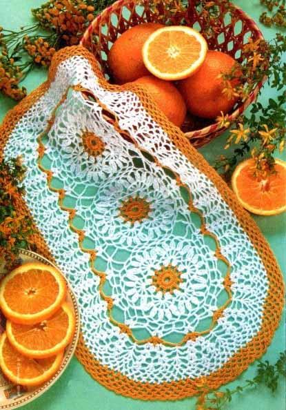 """Овальная салфетка """"Апельсиновая"""" крючком"""