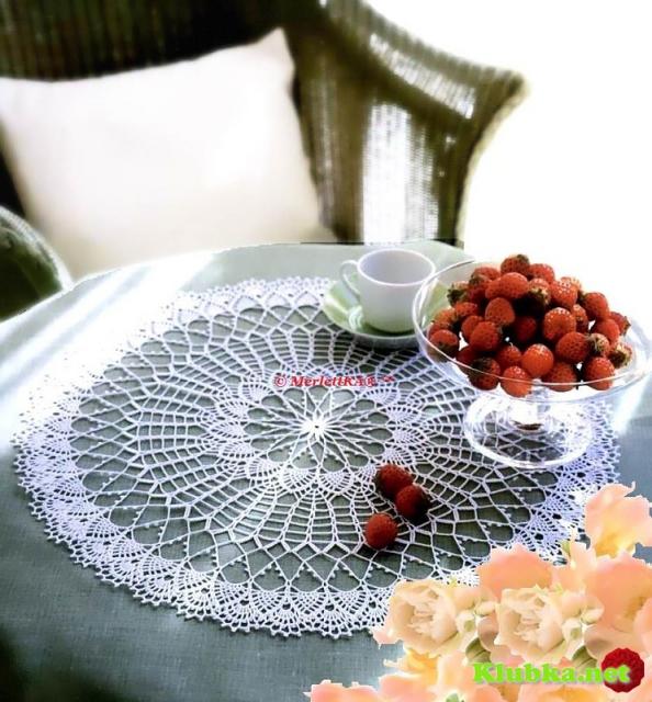 Вязание крючком - белоснежная салфетка