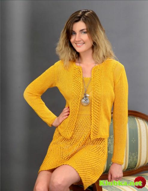 Летний костюм желтого цвета: жакет и платье с фантазийным узором