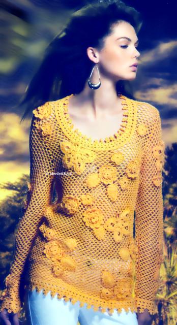 Пуловер. сетка и ирландское кружево