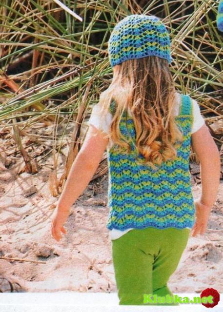 Жакет, топ и шапочка для девочки