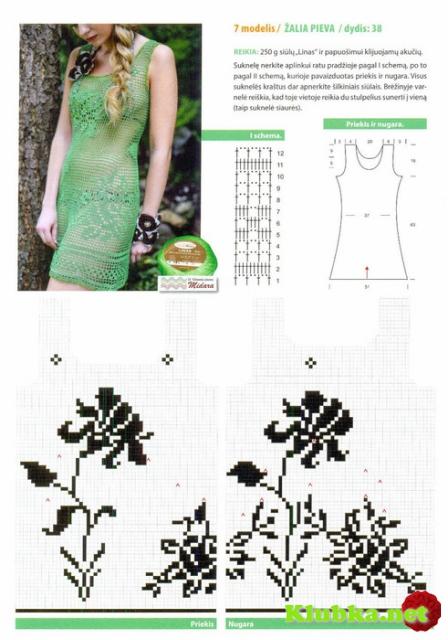 Зелёное филейное платье
