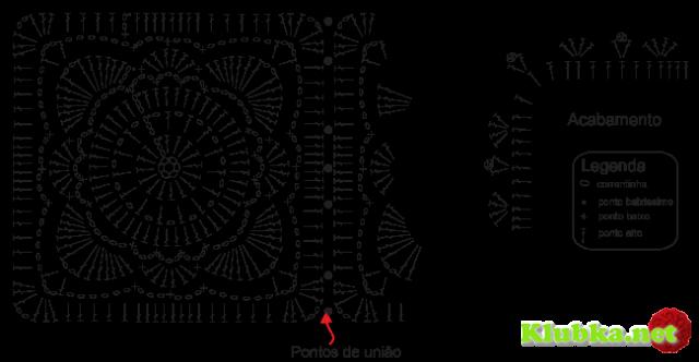 Схема вязания пледа из бабушкиных квадратов