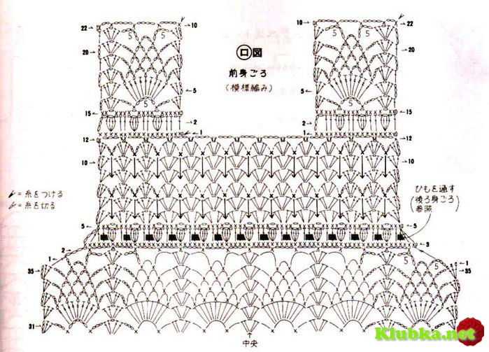 Комбинированные платья для девочек крючком со схемами