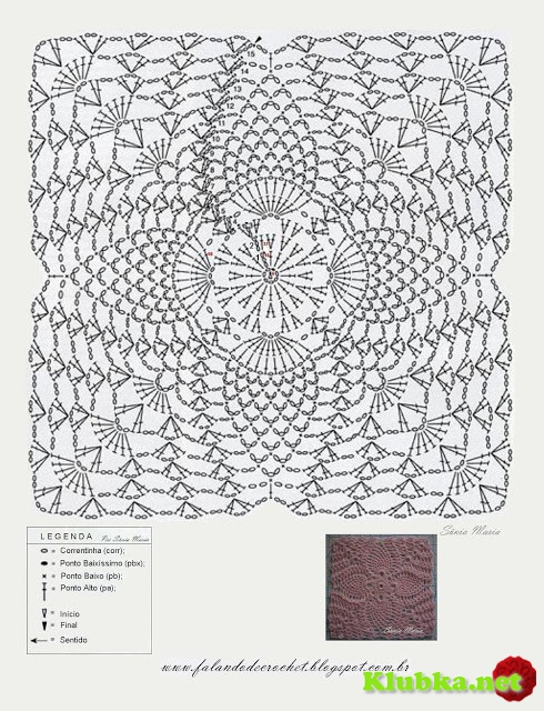 Шикарное платье из квадратных мотив. Схема