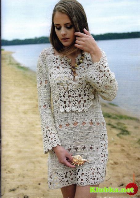 Платье из льняной пряжи