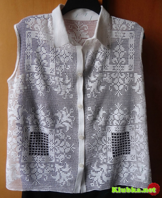 Филейное вязание - блуза без рукавов