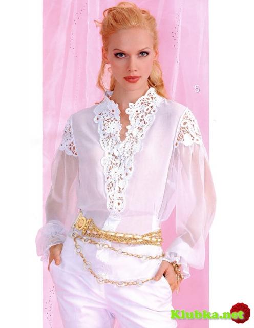 Нарядная блуза со вставками