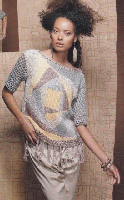 женский пуловер в стиле пэчворк крючком