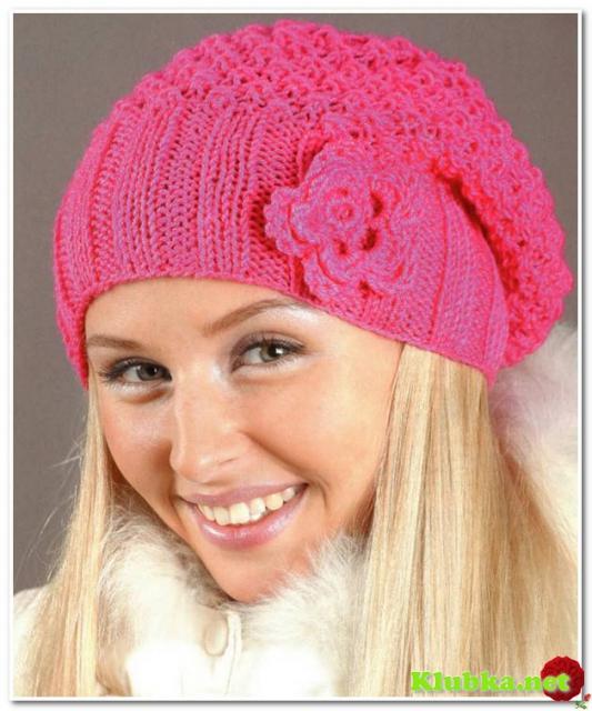 Вяжем розовую шапку с цветком.