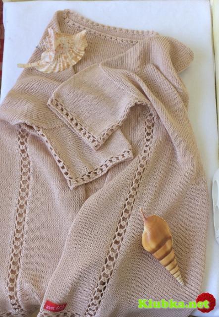 Обработка края, кайма, боковой шов ажурной дорожкой