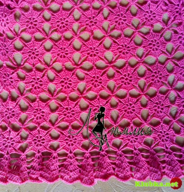 Розовый жакетик - болеро мотивами в технике безотрывного вязания.