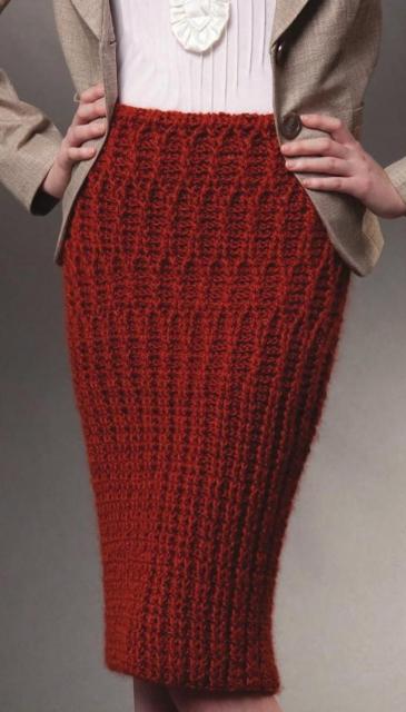 Терракотовая юбка крючком