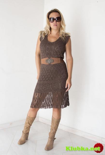 Ажурное нарядное платье крючком