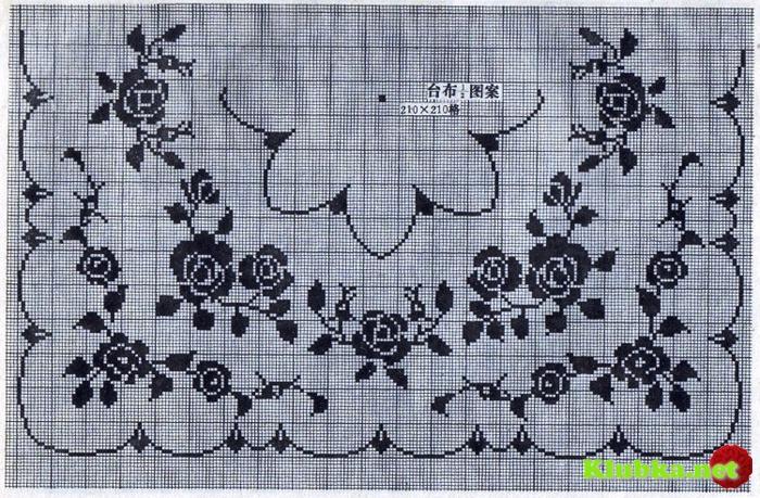 Вязание скатерти крючком филейная сетка 3
