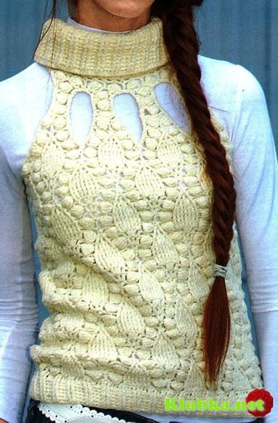 Стильная безрукавка с рельефным узором: вязание крючком