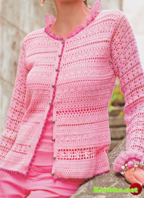 Ажурный розовый жакет