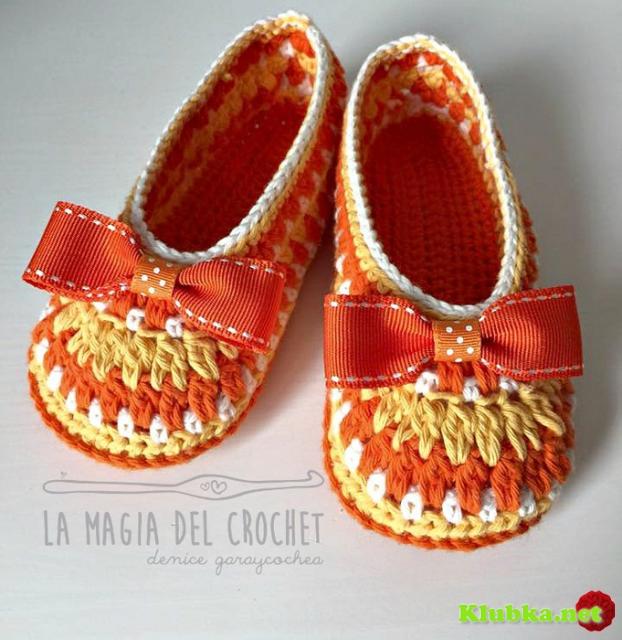 Тапочки туфельки крючком