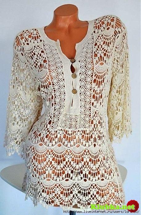 Ажурное вязание крючком платье туника