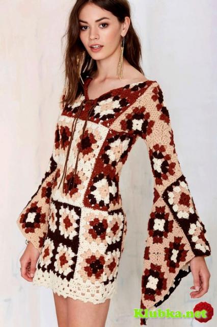 Платье из бабушкиного квадрата