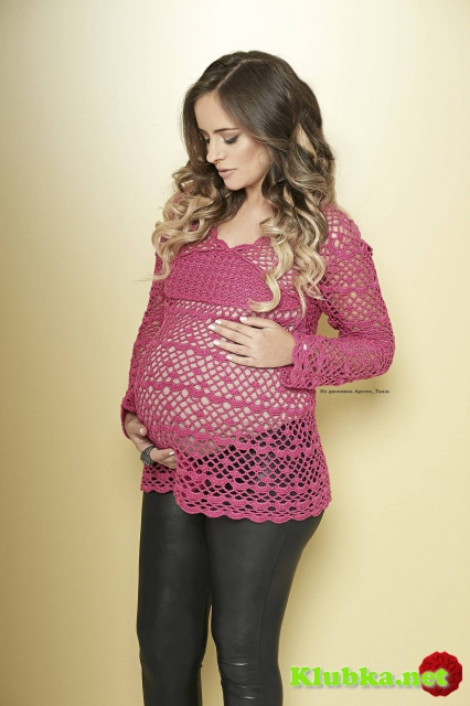 Пуловер для беременных крючком.