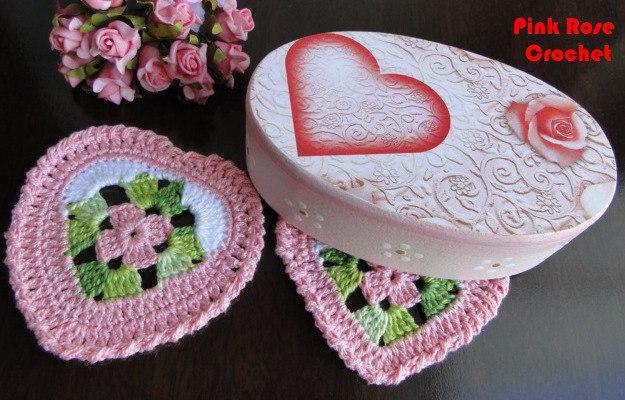 Сердечно-цветочные салфетки-валентинки крючком