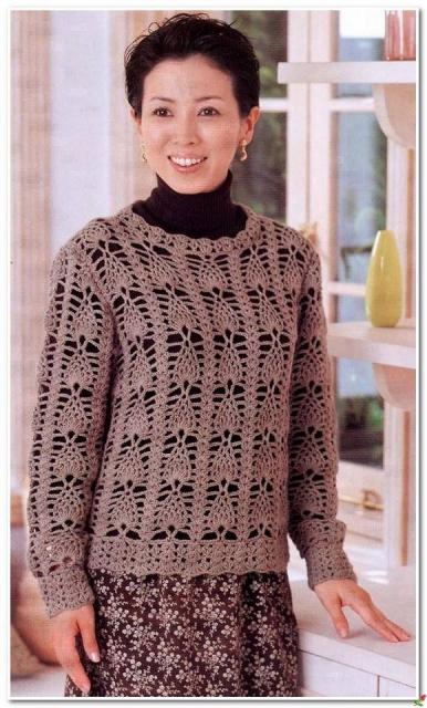 Коричневый пуловер крючком