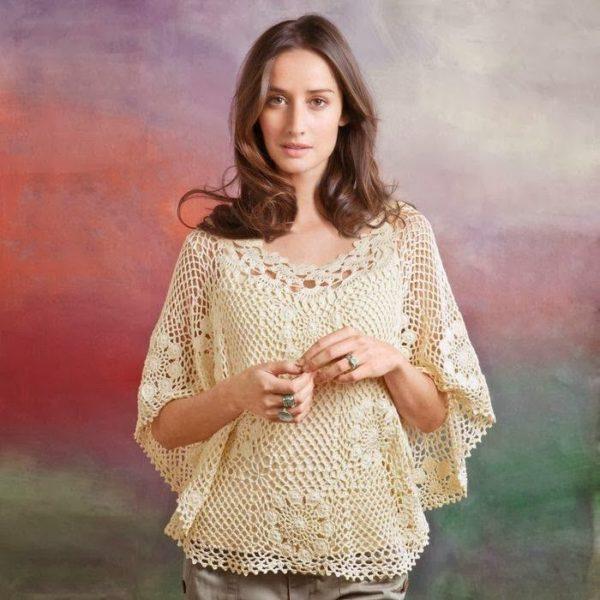 Блузка-накидка из мотивов крючком