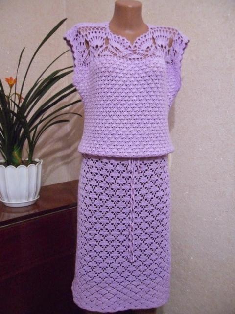 Сиреневое платье крючком