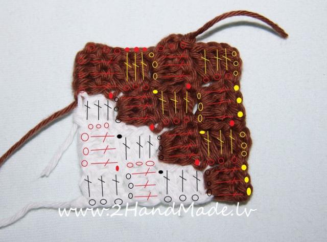 Вязание по диагонали крючком
