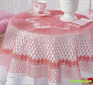 Кружевная скатерть \»Розовая невесомость\»