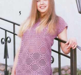 Ажурный пуловер филейным узором «Ромбы»