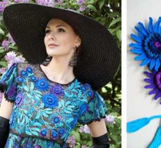 Платье с хризантемой. Вязание крючком