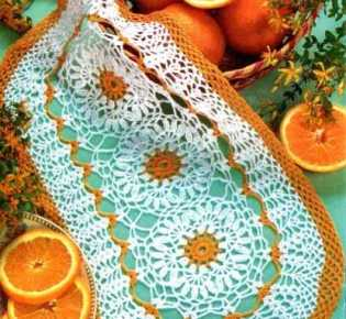 Овальная салфетка \»Апельсиновая\» крючком
