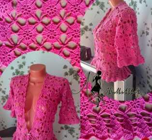 Розовый жакетик — болеро мотивами в технике безотрывного вязания.