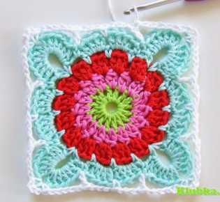 Квадрат с цветком для вязания пледа (и не только!). Мастер-класс