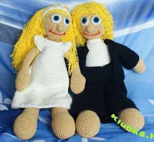 Жених и невеста: вяжем кукол крючком
